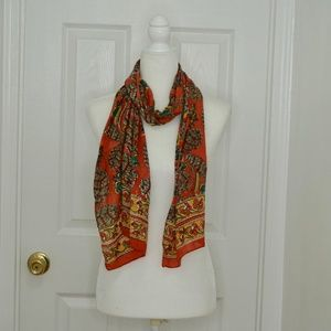 VINTAGE Orange Floral Pattern Scarf!